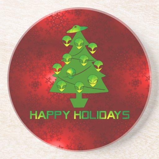 Alien Holiday Tree Beverage Coasters