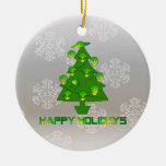 Alien Holiday Tree Double-Sided Ceramic Round Christmas Ornament