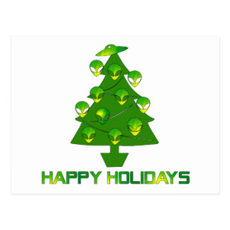 Alien Holiday Tree Postcard