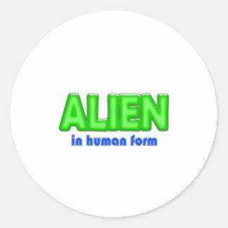 ALIEN Human Form Halloween Costume Design Round Stickers