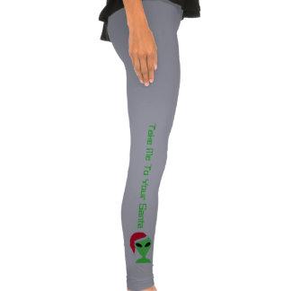 Alien In A Santa Hat Funny Geek Legging Pants