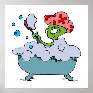 Alien in bubble bath poster
