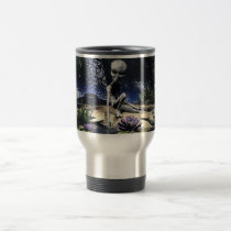 alien, aliens, scifi, space, world, worlds, frog, dragonfly, frogs, dragonflies, ufo, grey, trees, tree, nature, pond, water, lilly, pad, forests, Caneca com design gráfico personalizado