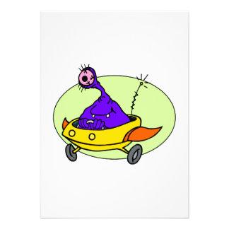 Alien in space ship invitation