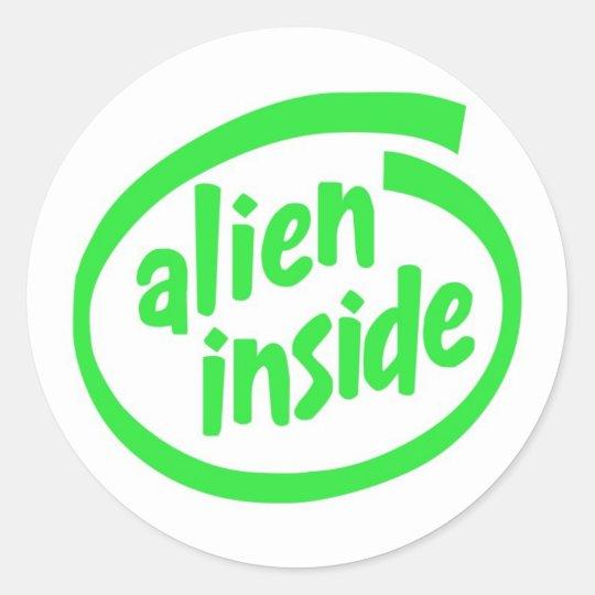 Alien inside classic round sticker
