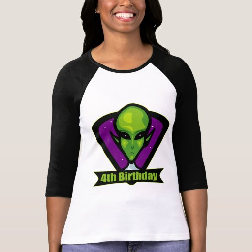 Alien Invader 4th Birthday Gifts Shirts