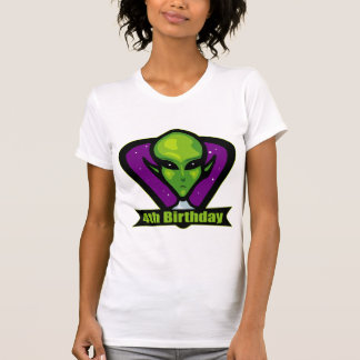 Alien Invader 4th Birthday Gifts T Shirt