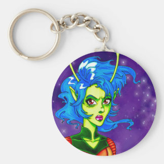Alien Invader Girl Keychain