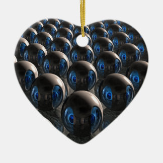 Alien Invasion At Dawn Double-Sided Heart Ceramic Christmas Ornament