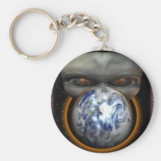 Alien Invasion Basic Round Button Keychain