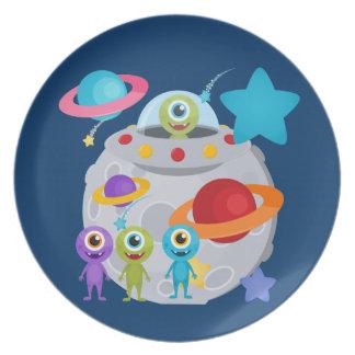 Alien Invasion Melamine Plate