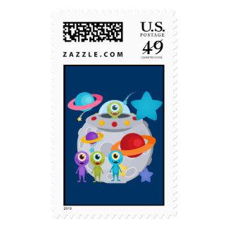 Alien Invasion Postage Stamps