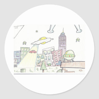 Alien Invasion Round Stickers