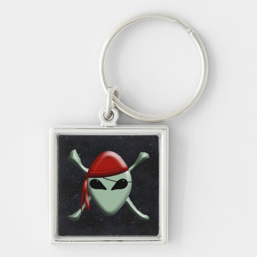 Alien Jolly Roger w/Starry Background Key Chains
