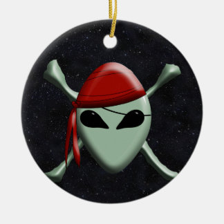 Alien Jolly Roger w/Starry Background Christmas Ornaments