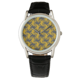 Alien kissing reptiles dark gray and amber wristwatches