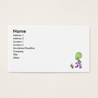 Alien Lady walking Dog Business Card