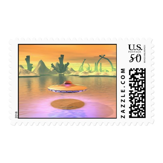 Alien Lake UFO Take Off Postage
