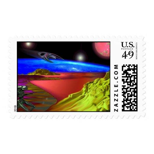 Alien Landsacpe Postage Stamps