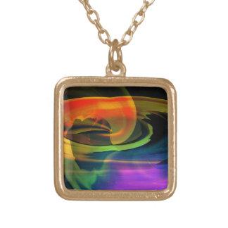 Alien Landscape Rainbow Abstract Square Pendant Necklace
