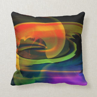 Alien Landscape Rainbow Abstract Throw Pillow