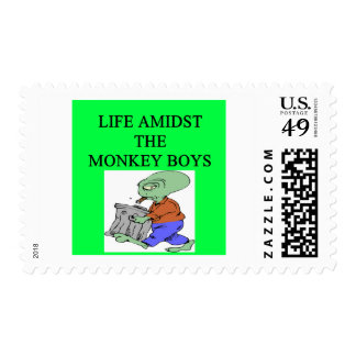 alien life amidst the monkey boys stamp