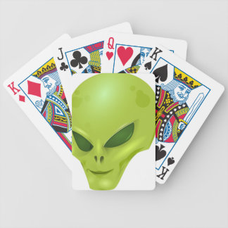 alien martian cosmic face green head playing cards