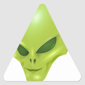 alien martian cosmic face green head triangle sticker