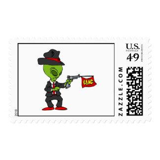 Alien Mobster Postage Stamps