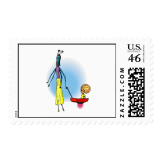 Alien Mom with boy in wagon Postage Stamps