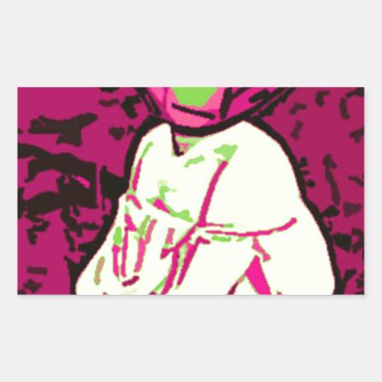 Alien Mona Lisa Rectangular Sticker