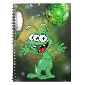 Alien monster illustration cartoon in space spiral notebook