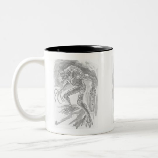 Alien Monster with a Chainsaw Hand by Al Rio Two-Tone Coffee Mug