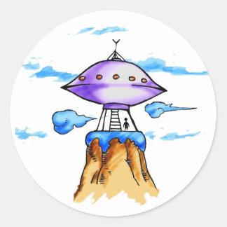 Alien Mountain Classic Round Sticker