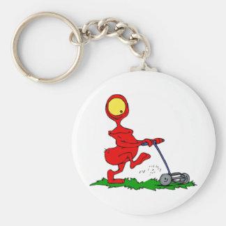Alien Mowing Lawn Keychain