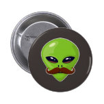 Alien Mustache 2 Inch Round Button