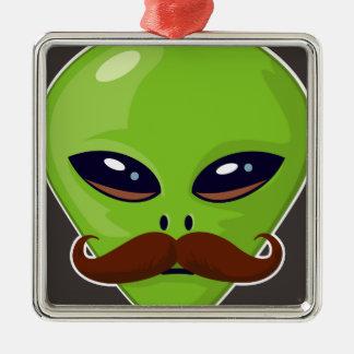 Alien Mustache Metal Ornament