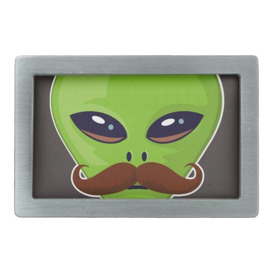 Alien Mustache Rectangular Belt Buckle