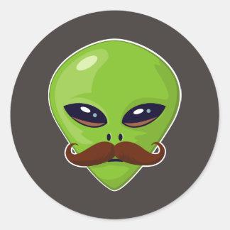 Alien Mustache Round Sticker