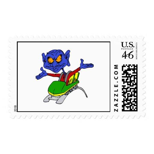 Alien no handed coaster postage stamp