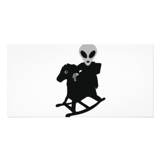 alien on rocking horse icon photo card template