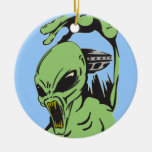 Alien On The Attack Double-Sided Ceramic Round Christmas Ornament
