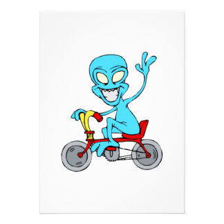 alien on tiny bicycle personalized invites