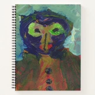 Alien/owl figure spiral notebook