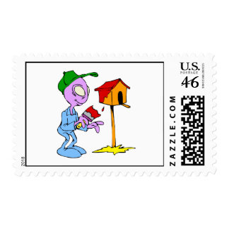 Alien painting birdhouse postage stamps