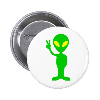 Alien Peace Sign 2 Inch Round Button