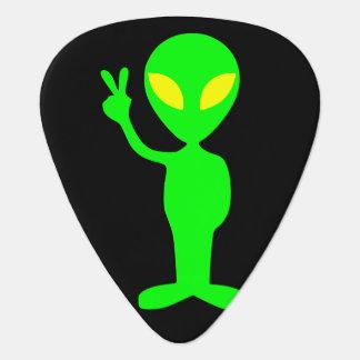 Alien Peace Sign Little Green Men Guitar Pick