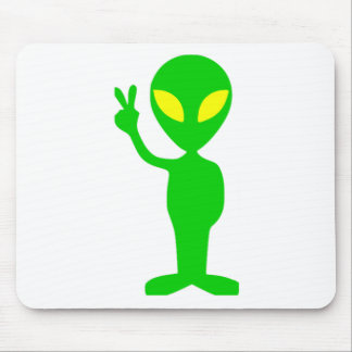 Alien Peace Sign Mouse Pad