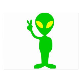 Alien Peace Sign Postcard