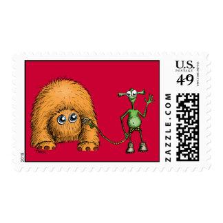 Alien Pet Walk Postage Stamp